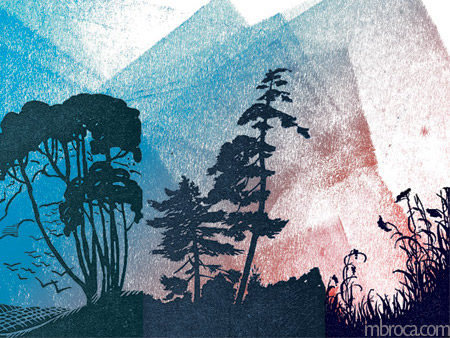 Des arbres et des herbes en noir, un ciel bleu rouge, parution dépaysé.