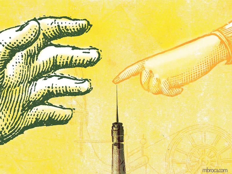 deux mains, une qui touche le fuseau, une qui veut l'en empêcher