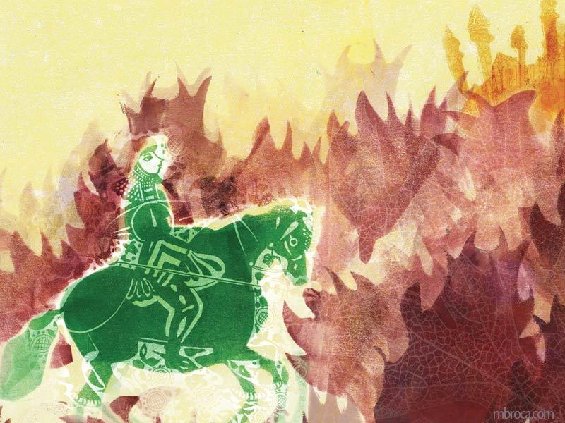 un cavalier vert passe dans des buissons rouge. Un chateau jaune au loin.