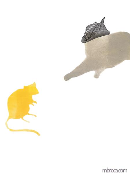 un chat avec un chapeau qui saute sur une souris