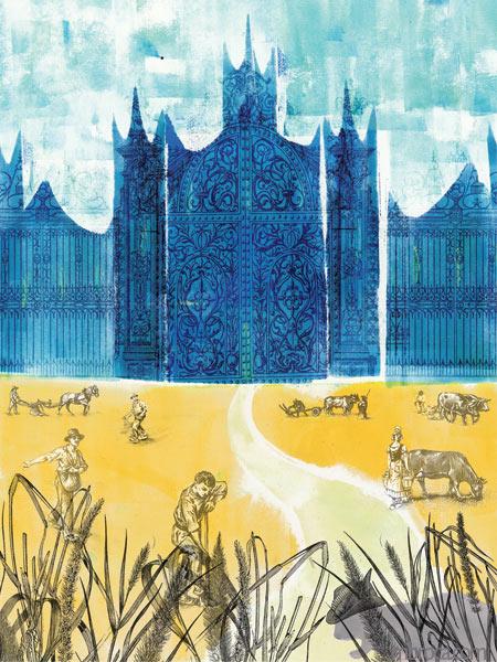 un chateua bleu en arrière plan, un champs de blé avec des paysans, et le chat au premier plan.