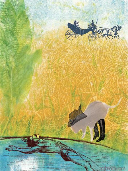 un homme dans l'eau au premier plan, le chat qui le regarde, un carosse en arrière plan.