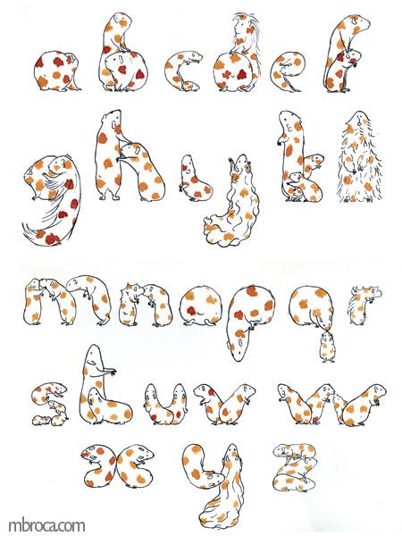 Alphabet cobaye, encres. Des cobayes forment les lettres de l'alphabet.