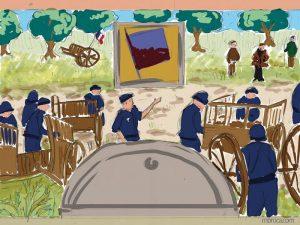 Une scène dans les années 60, des CRS enlèvent des charettes face à des paysans
