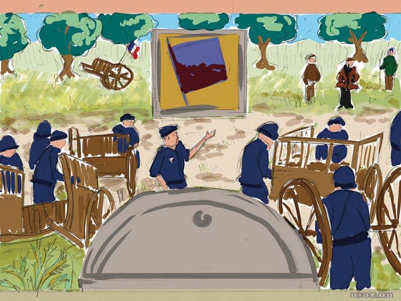 Fresque CRS. Une scène dans les années 60, des CRS enlèvent des charettes face à des paysans