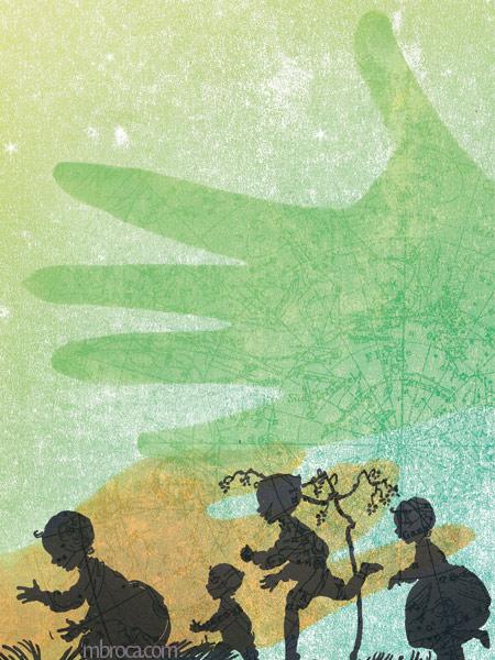Quatre enfants jouent dans l'herbe. Deux mains dans le ciel étoilé. Dépaysés, Alain Boudet, M.Broca, Soc et Foc éditions