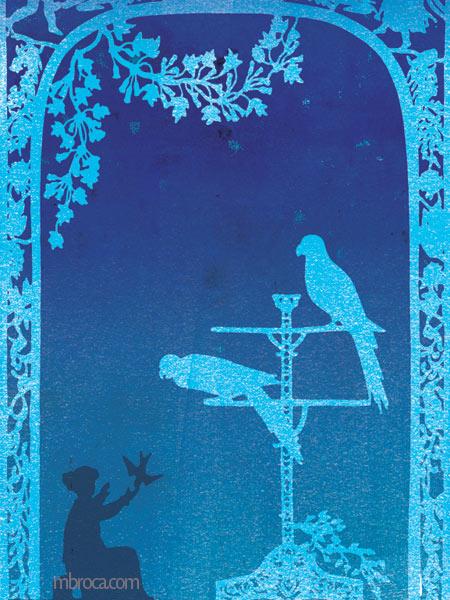 Une alcove fleurie, une jeune fille avec un oiseau sur sa main, un perchoir avec deux perroquets.