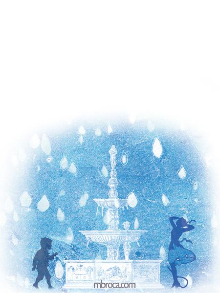 Une fontaine, un garçon et une jeune femme. Des gouttes d'eau.