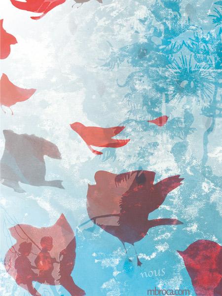 Des oiseaux s'envolent. Deux enfants se promènent avec une canne à pêche. Un arbre bleu.