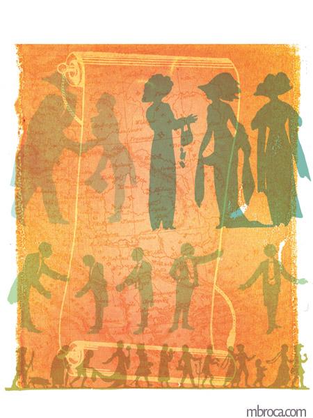 Un parchemin, des silhouettes d'hommes et de femmes