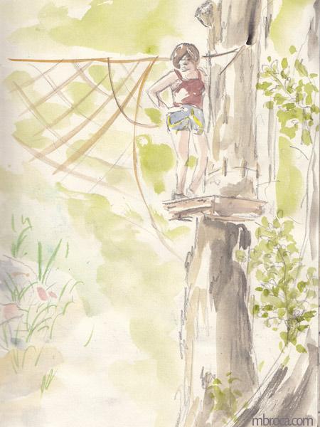 une femme arnachée sur un arbre.