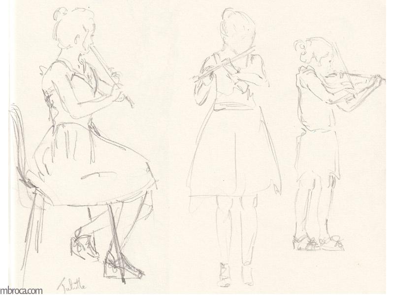 trois filles jouent de la flute.