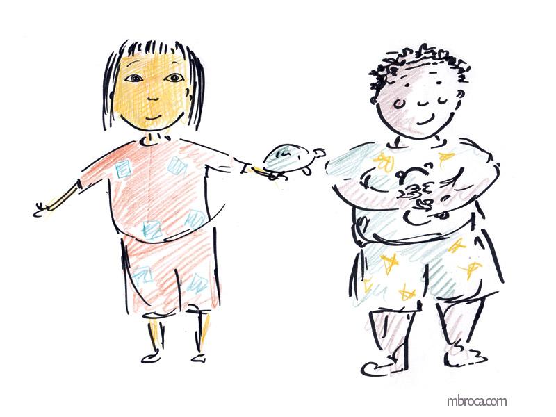 Deux enfants en pyjama (une fille et un garçon) et une tortue
