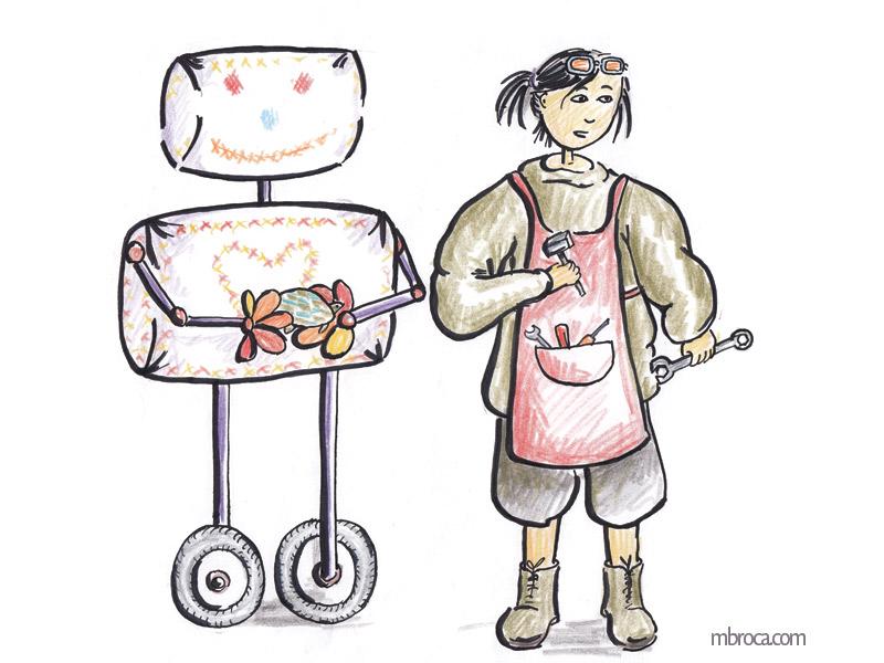 Une machine pour faire des calins et la jeune femme qui l'a créé.