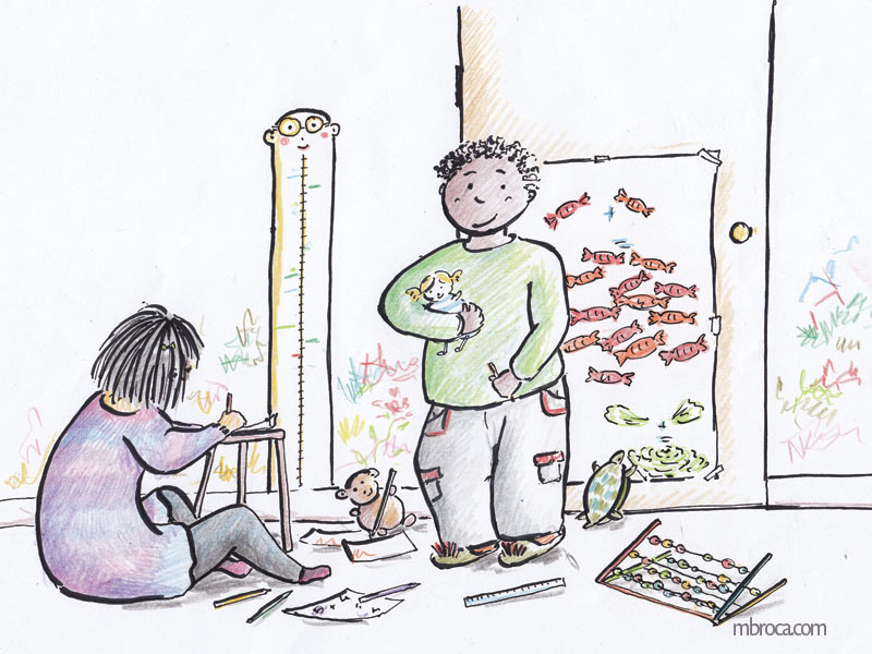 Deux enfants jouent dans une pièce. Ils dessinnent sur les murs, et jouent au professeur et à l'élève.