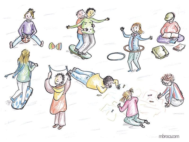 Des enfants jouent dans une cours de récréation, diabolo, ballon, dessin à la craie, houla hop, lecture.