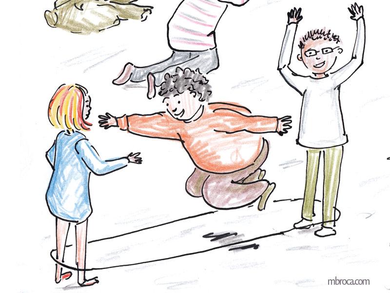 trois enfants jouent à l'élastique.