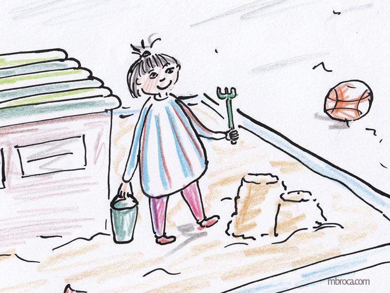 Une fille dans un bac à sable fait des tas de sable avec son seau et son rateau