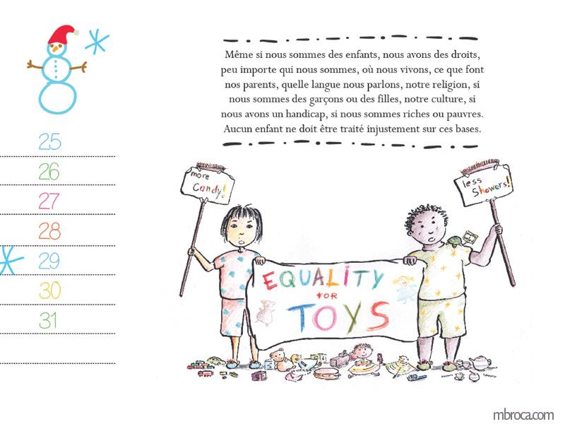 Mois de janvier, texte de la déclaration universelle des droits de l'enfant. Une fille et un garçon qui tiennent un drap et revendiquent l'égalité pour les jouets.Calendrier
