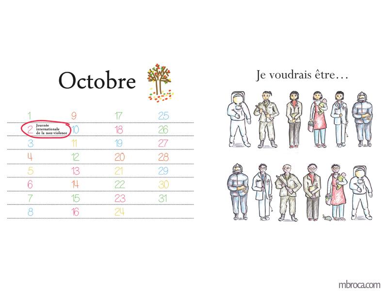 """Calendrier, mois d'octobre, le 2 journée internationale de la non-violence. À droite,"""" Je voudrais être"""". Une femme et un homme habillés en cosmonaute, soldat, professeur, nounou, docteur, pompier."""