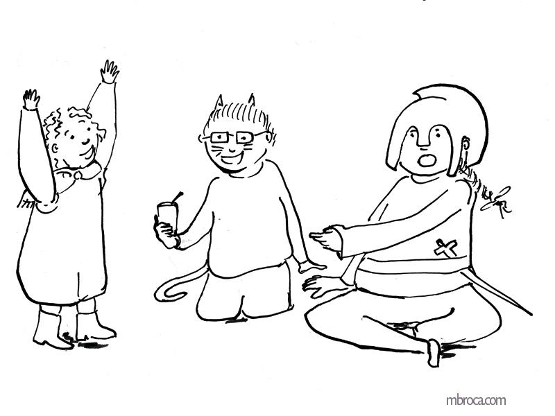trois enfants déguisés en chat, soldat qui discutent