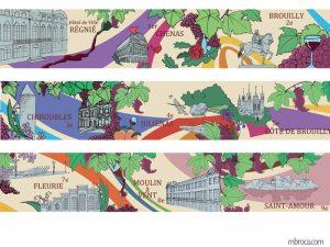 fresque alternant des batiments des 9 arrondissements de Lyon avec des symboles du vin (raisin, verre, bouteilles)