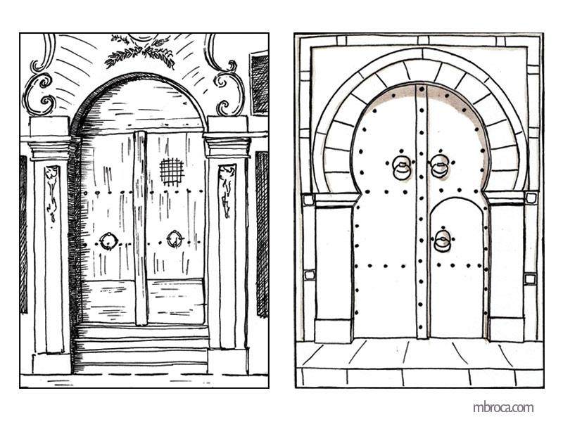 Porte de monastère et porte du harem.