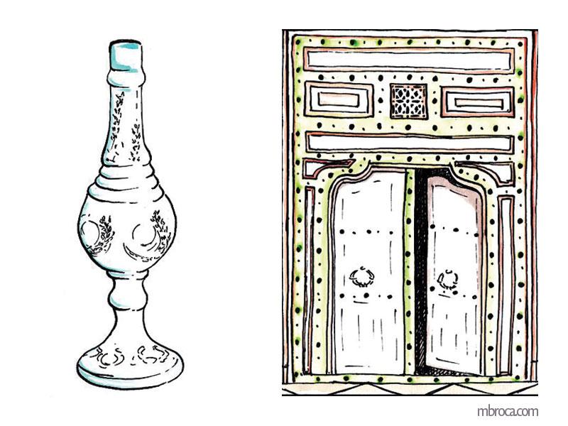 La belle Génoise, M.T. Buhagiar, M.Broca.Aspersoir à parfum et porte de harem, encres.