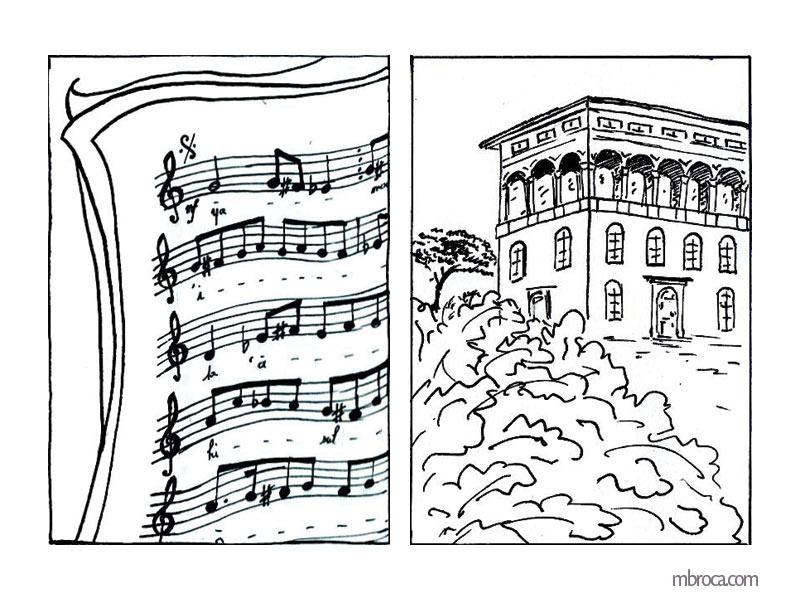 La belle Génoise, M.T. Buhagiar, M.Broca.Partition de musique, et villa gênoise.