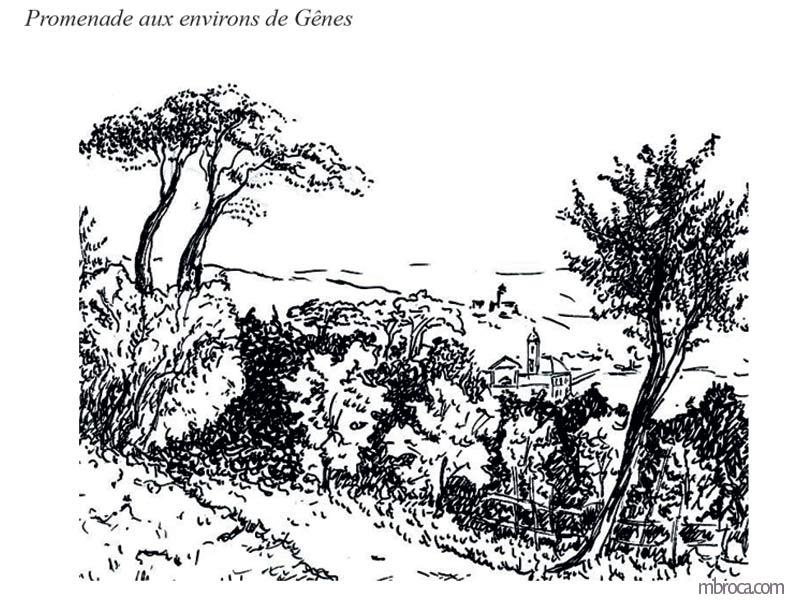 Paysage des alentours de Gênes, église en arrière plan.
