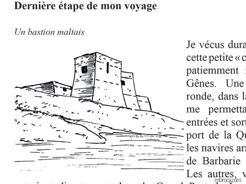 Un bastion maltais, cours d'eau au premier plan.La belle Génoise, M.T. Buhagiar, M.Broca