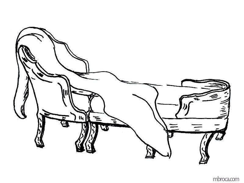 La belle Génoise, M.T. Buhagiar, M.Broca.Une duchesse, fauteuil avec repose pieds.