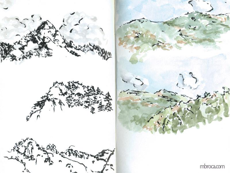 trois montagnes à l'encre de chine et deux à l'aquarelle.