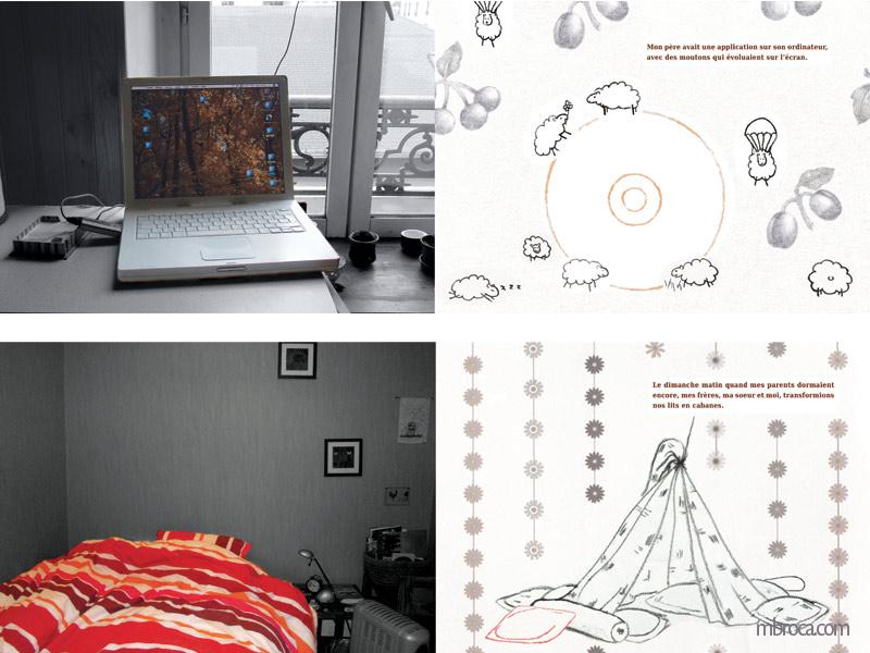 Deux doubles pages, une avec un ordinateur, un CD et des moutons. L'autre avec un lit, un drap et des oreillers.