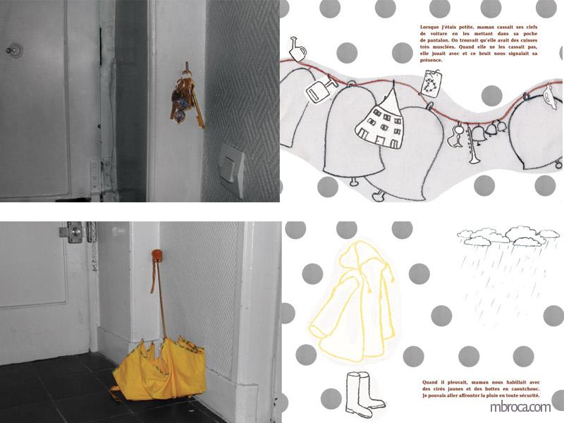 Deux doubles pages, une avec des clefs mélangées à des cloches. L'autre avec un parapluie, un ciré, des bottes et un nuage de pluie.