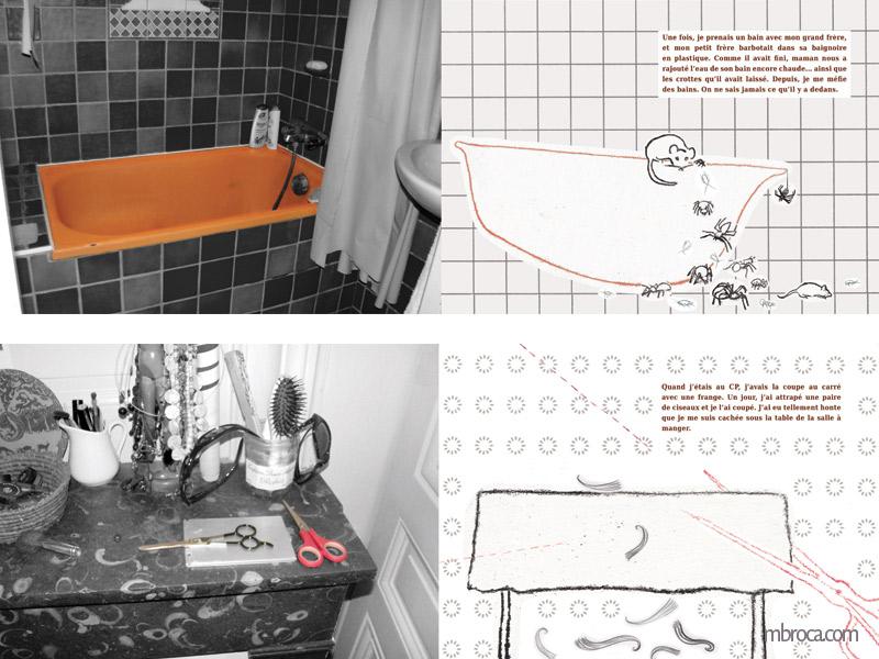 Deux doubles pages, une baignoire avec des animaux et des insectes qui en sortent. En dessous, une table avec des ciseaux qui coupent une nape. Et des mèches de cheveux qui tombent.