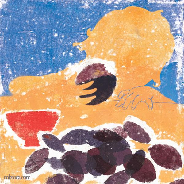 la silhouette d'un enfant qui mange une prune. Au premier plan des prunes et un bol.