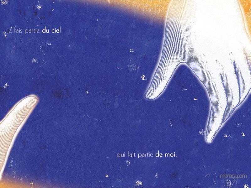 """""""je fais partie du ciel qui fait partie de moi"""" deaux mains se tendent dans un ciel bleu foncé"""