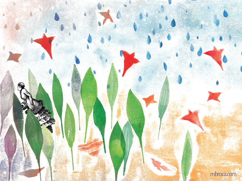 Une femme s'enfuit dans une forêt. Des oiseaux s'envolent.des goutes de pluie tombent.