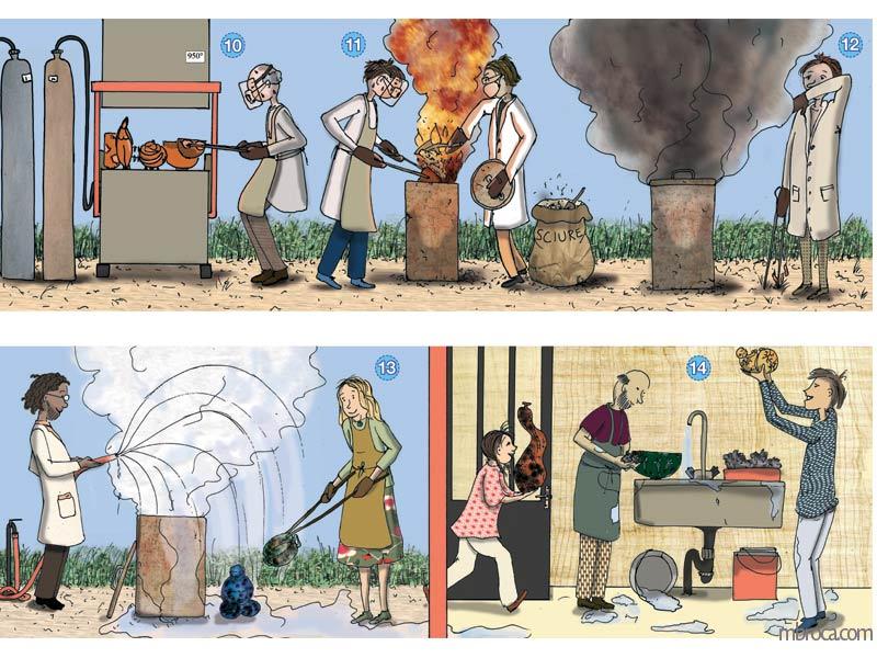 des personnes sortent des pièces de céramique d'un four raku. un homme les arrode. Deux personnes les rincent.