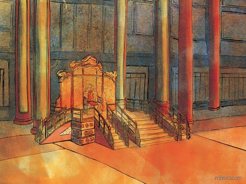 une grande salle vide avec un trône au milieu.