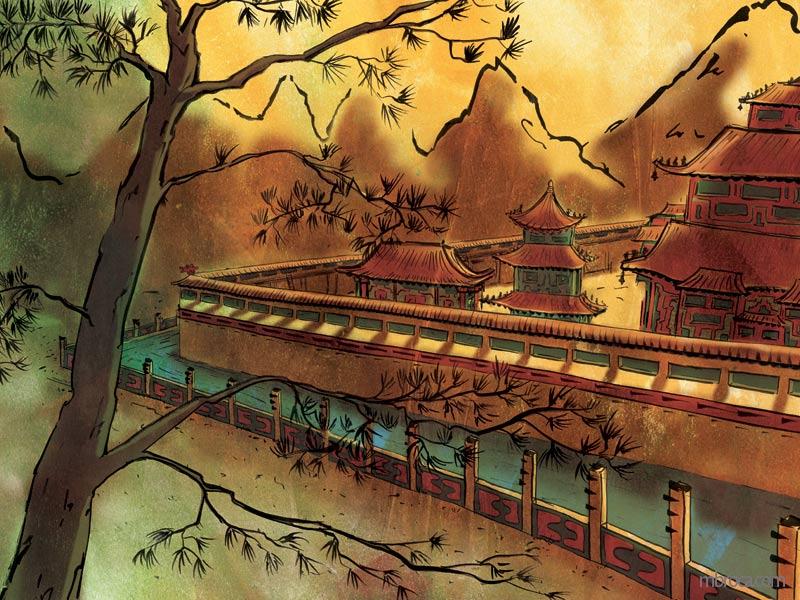 un grand pin au premier plan, le palais en arrière plan avec des douves remplies d'eau.
