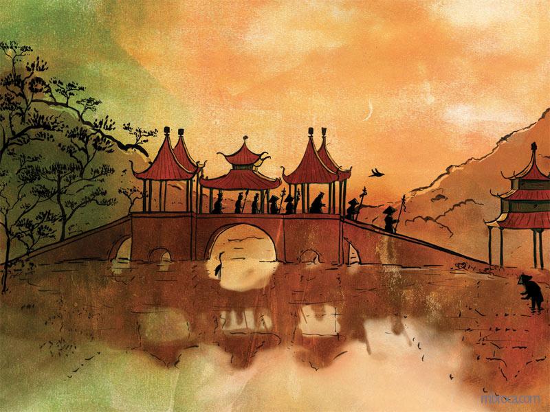 Un pont chinois avec des silhouettes de gardes et de serviteurs qui marchent dessus. le rossignol vole.