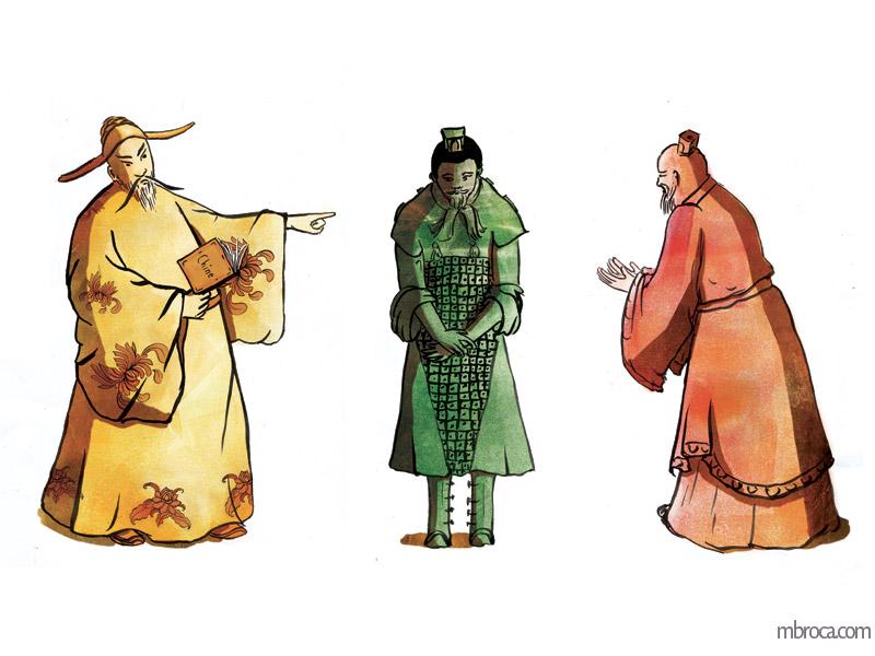trois personnages, un jaune, un vert, un rouge.