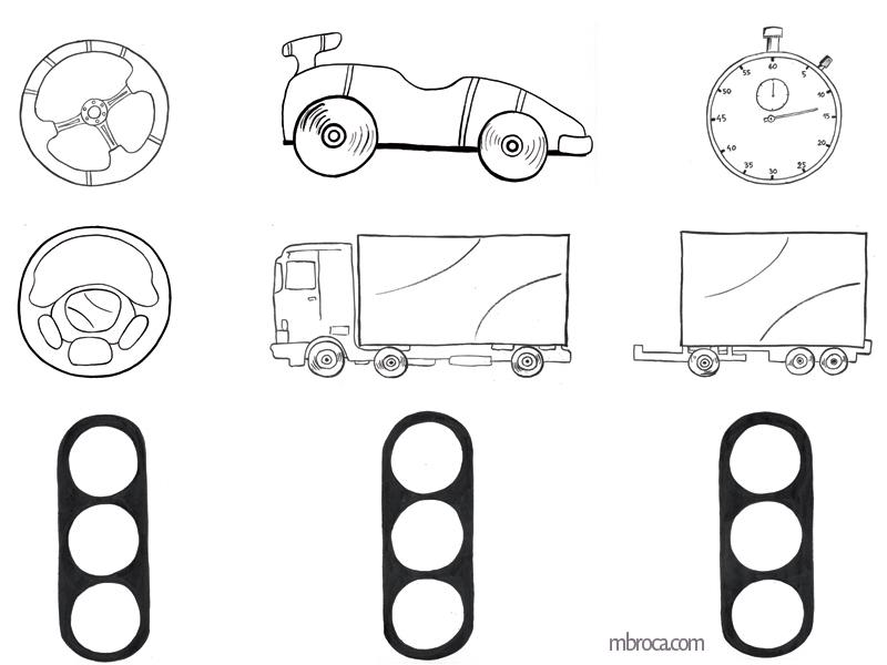 volant, voiture, camion, chronomètre, feux de signalisations.