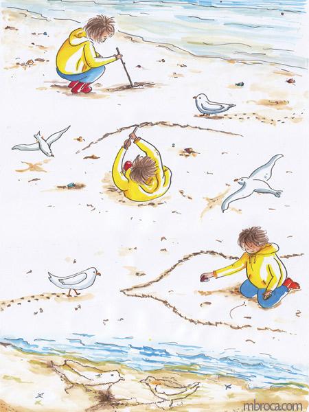 Un enfant dessine dans le sable. Des mouettes regardent.