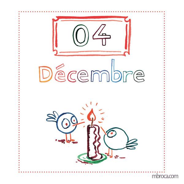 quatre décembre, deux oiseaux et une bougie.
