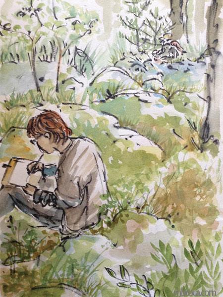 Un personnage desssine dans la forêt.