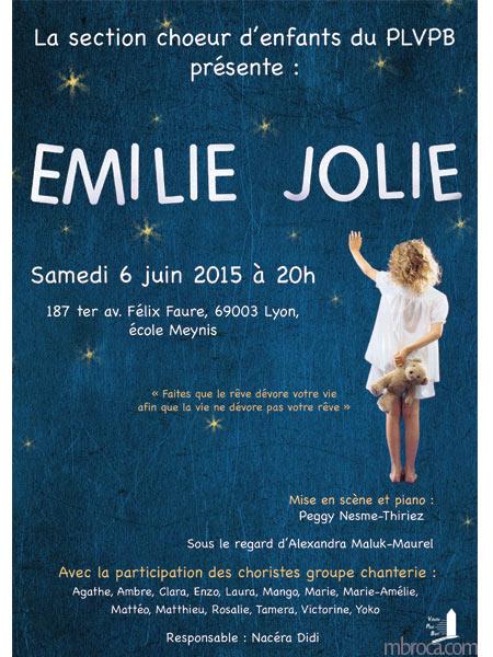 affiche pour un concert sur les chants d'emilie Jolie.