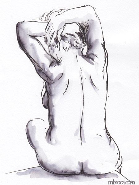 femme nue assise de dos